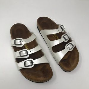 Birkenstock Florida 3 Strap Sandals Size 38 white